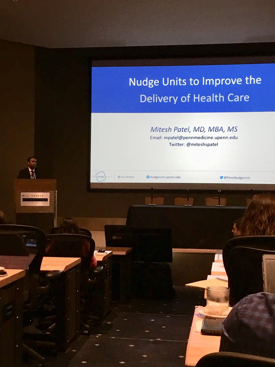 """Dr. Mitish Patel from Penn Medicine discusses """"nudging"""" providers to adhere to clinical practice guidelines and reduce unnecessary costs via electric medical record interventions #PLUGSSummit18"""