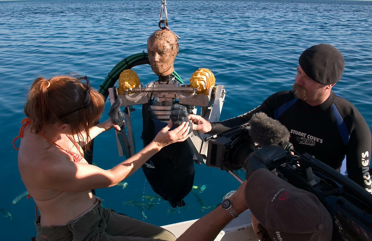 From the first MythBusters #SharkWeek special: Buster and his rubber shark punching fists. Look at the delight on Jamie's face.  I think he liked this experiment. -- @KariByron