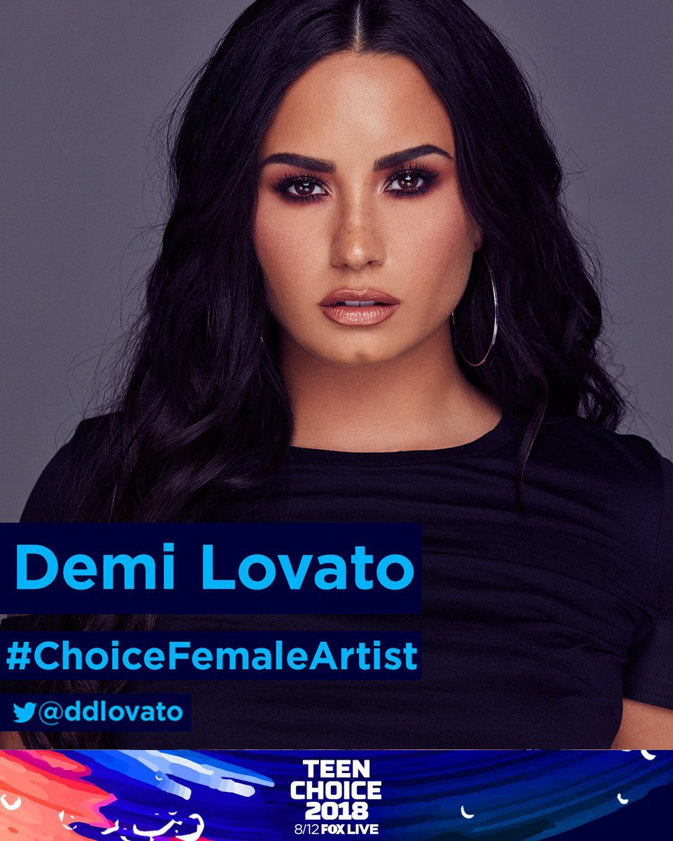 "Thank you so much for the Teen Choice Nomination for #ChoiceFemaleArtist! 😍 RT this to vote for me or tweet 'My #TeenChoice for  is Demi Lovato ""@ddlovato"
