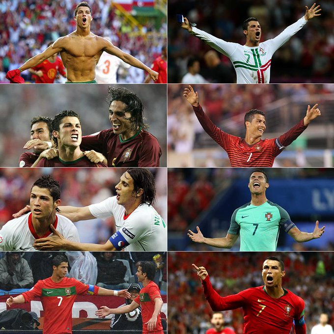 Euro 2004 ✅ 2006 World Cup ✅ Euro 2008 ✅ 2010 World Cup ✅ Euro 2012 ✅ 2014 World Cup ✅ Euro 2016 ✅ 2018 World Cup ✅ Cristiano Ronaldo is the first player to score in eight consecutive major tournaments. Photo