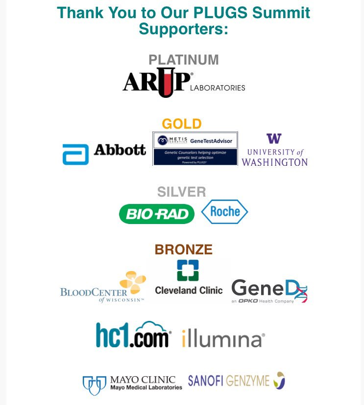 Amazing #PLUGSSummit18 with incredible speakers, members, attendees, and sponsors sharing their great work!!! Thank you @ARUPLabs @AbbottGlobal @MetisGenetics @UW @BioRadDiag @RocheDiaUSA @BloodCenterWI @ClevelandClinic @GeneDx @hc1_HRM @illumina @mayocliniclabs @SanofiGenzyme