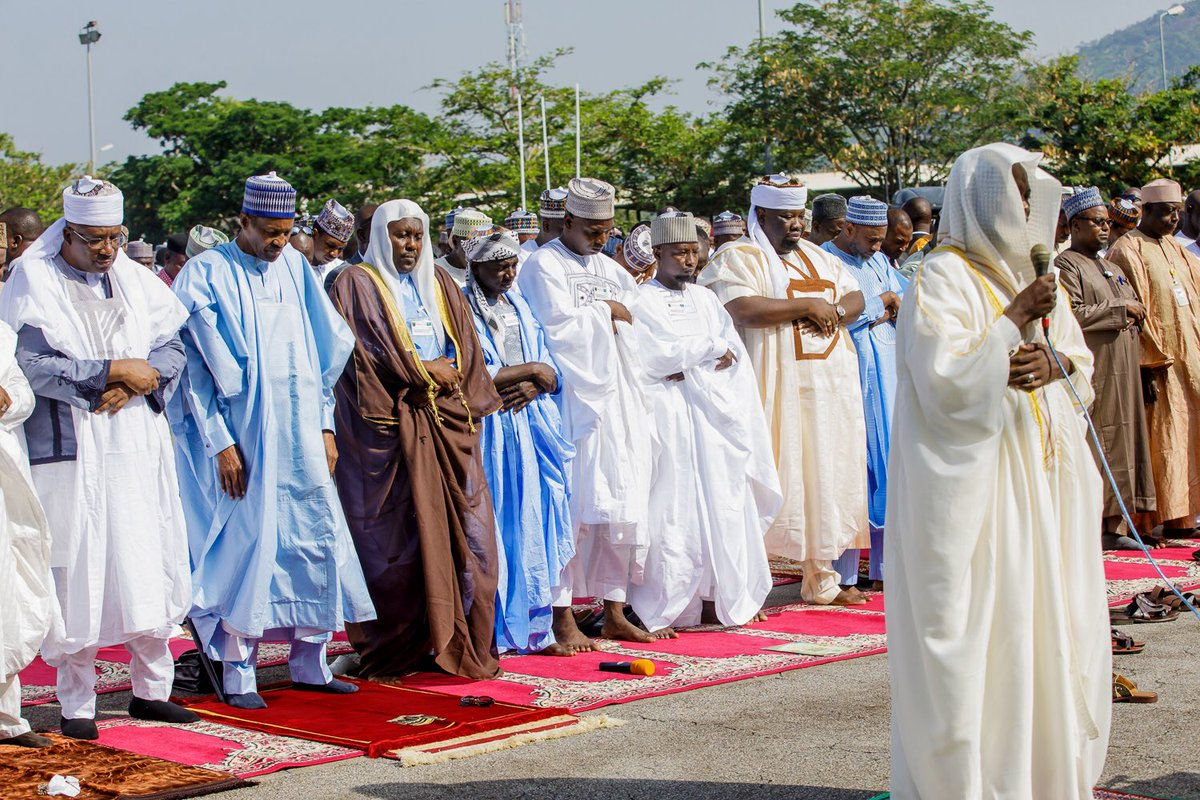 Presidency nigeria on twitter earlier today president mbuhari prayers at mambilla barracks and then received the customary sallah homage at the state house asovillatoday eidmubarak httpstjkic3lvb7d m4hsunfo