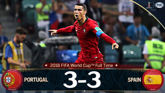 What. A. Game. Cristiano Ronaldo scores a hat-trick as Portugal and Spain share the point. Photo