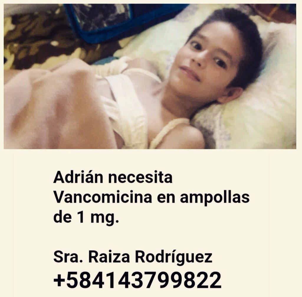 URGENTE. Este es Adrián y necesita de nuestra ayuda. Le urge VANCOMICINA en ampolla 1 Mg. Telf 0414-3799822 https://t.co/uXFQoNhAvW