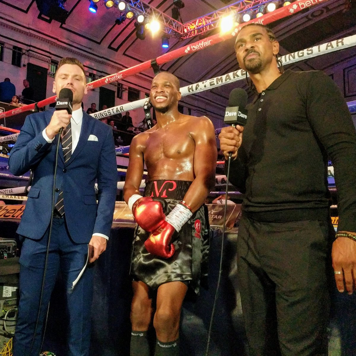Michael Venom Page all smiles during his on air post fight interview with Andy Shepherd and David Haye. #DaveFightNight