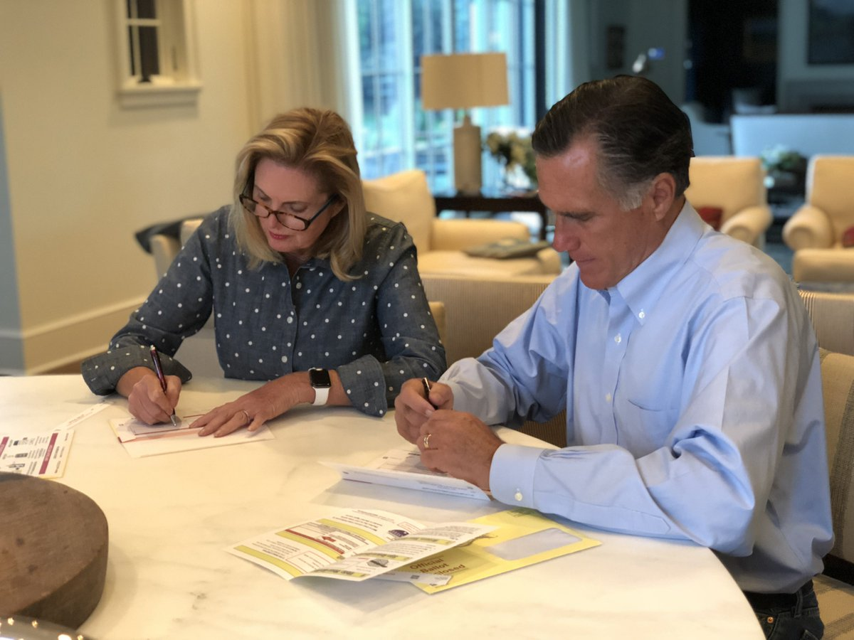 .@AnnDRomney and I exercised our right to vote by mailing in our ballots. Utahns, remember to vote by mail before June 25th or in person on June 26th.