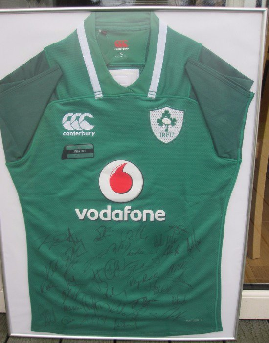 75ede3b4c47 ... Irish Rugby jersey, signed by all the 2018 Six Nations Championship and  the Grand Slam winners. We are raising funds for the Muckross Park Past  Pupils' ...