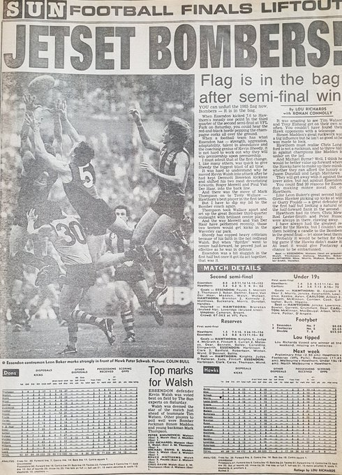 1985 Semi Final - JETSET BOMBERS! #EssendonFC #DonTheSash Photo