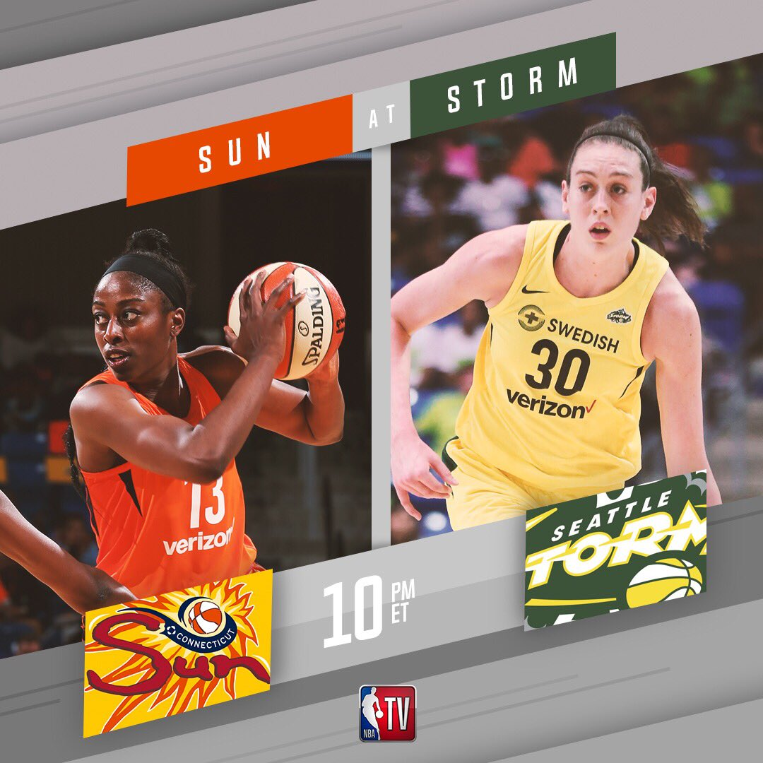 The 2nd game of tonight's @WNBA double-header features the @ConnecticutSun as they take on the @seattlestorm! 10pm ET on NBA TV! 📺 #WatchMeWork
