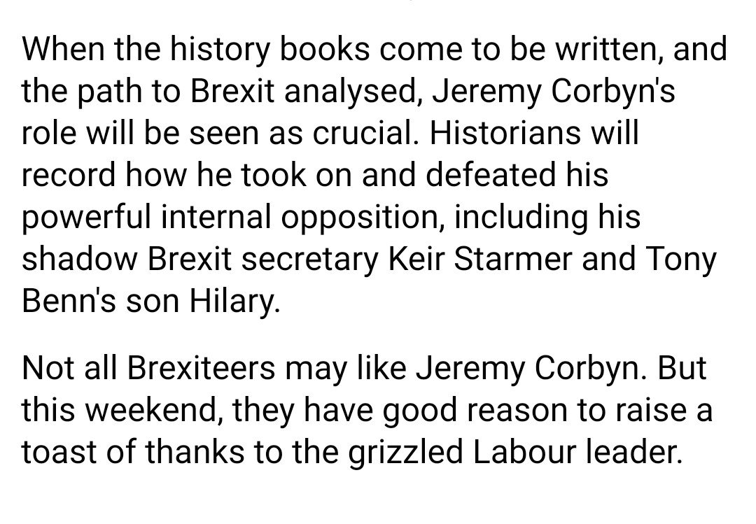 Today's Daily Mail sincerely praises Jeremy Corbyn for his efforts to help the Tories deliver Brexit https://t.co/S47elo1Pfa