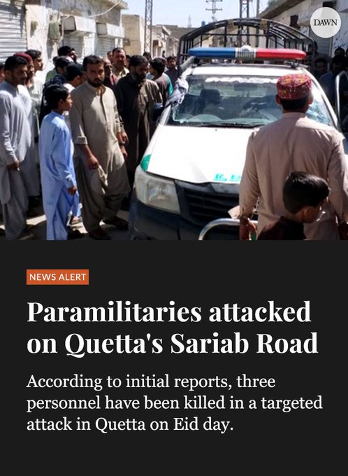 #Quetta: The levies personnel sitting in the car were fired at by the attackers. Read more: Photo
