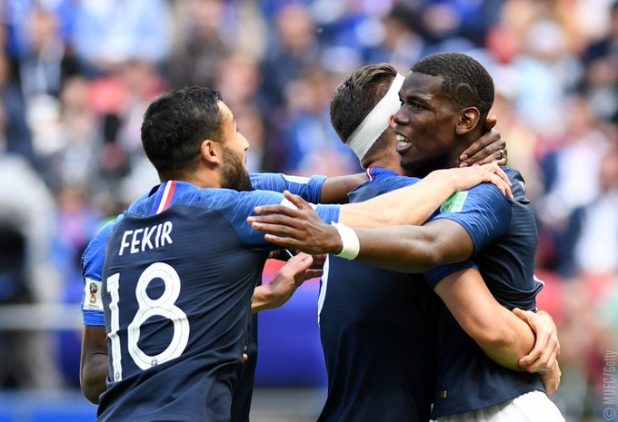 .@PaulPogba earns the points for France against Australia.💥 #MUFC Photo