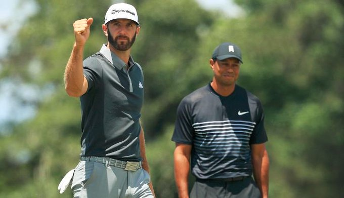 ICYMI: Dustin Johnson takes four-shot lead in to weekend at the #USOpen, as Rory McIlroy and Tiger Woods miss the #GolfonSky Photo