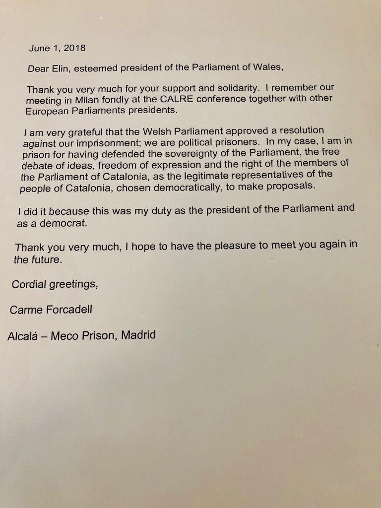 Elin Jones On Twitter Sobering To Receive A Letter From A Madrid