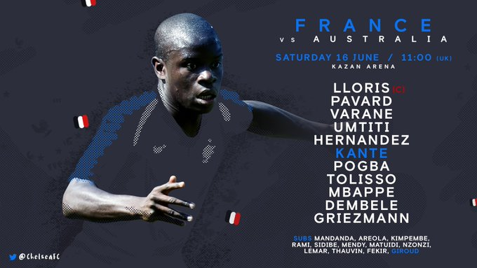 France have named @nglkante in their starting 11 to face Australia today! 🇫🇷💪 @_OlivierGiroud_ starts on the bench, come on boys! #WorldCup Photo