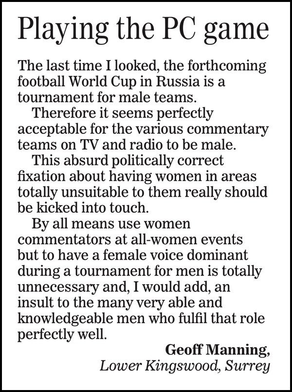... has an impressive lineup of readers pissing themselves with terror at  the thought of women talking about football on TV.pic.twitter.com/oHHRlFCbbc