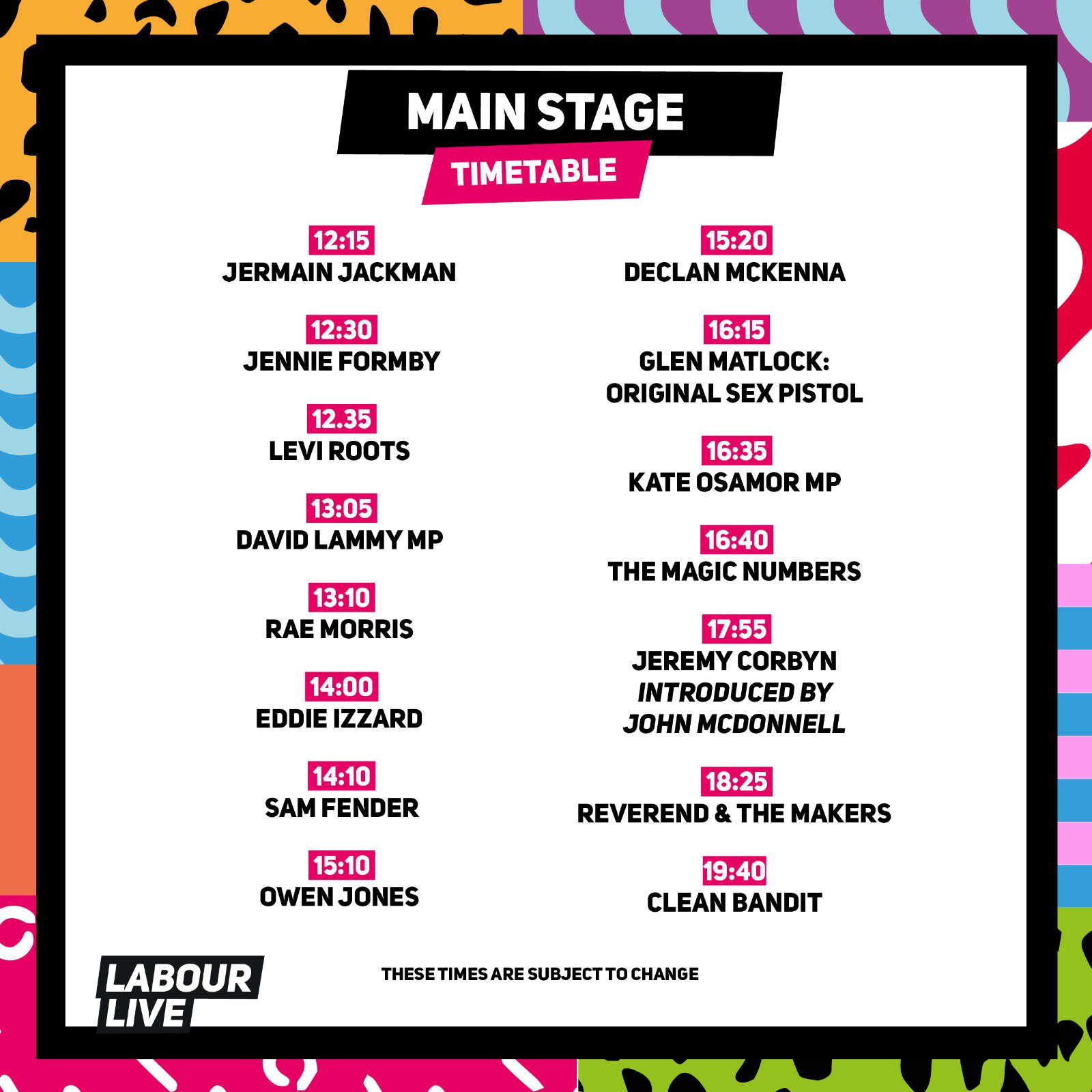 Ready for #LabourLive?  Doors open at midday! Here's what's going on today, stage by stage �� https://t.co/A4mUDcg5MN