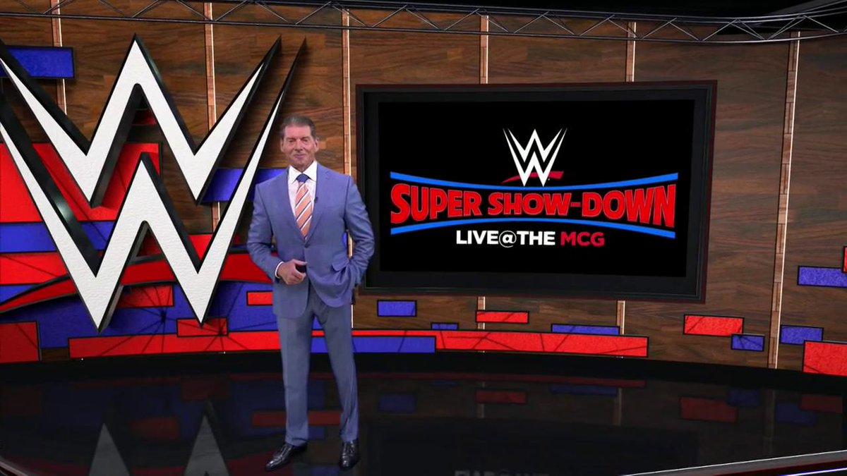 .@WWE Chairman & CEO @VinceMcMahon announces the historic @WWE Super Show-Down at the @mcg, which will include the FINAL match between The #Undertaker and @TripleH! #WWESSD