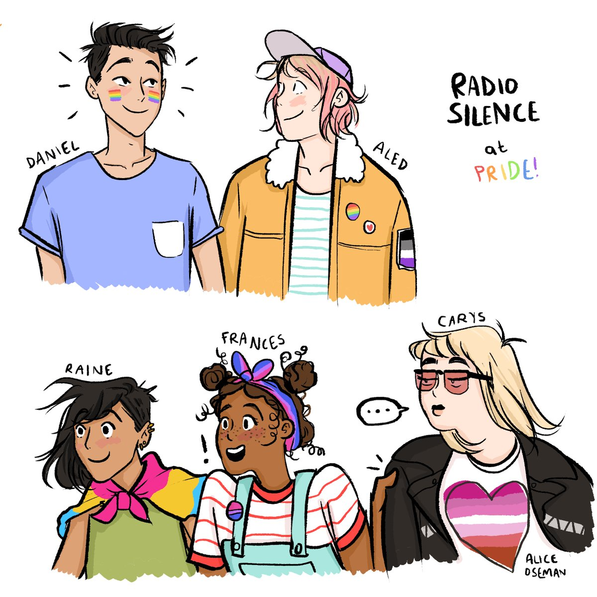 "Alice Oseman on Twitter: ""with minutes to spare, here's a final Pride Month  drawing - the Radio Silence five at Pride together! Daniel wasn't sure  whether he wanted to go because he"