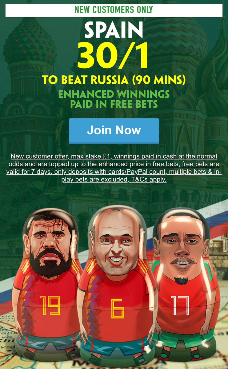 Http Bit Ly 30to1spainfst New Customers Can Get Spain At An Enhanced 30 1 To Beat Russia 90 Mins Max Stake Winnings Paid In Free Bets