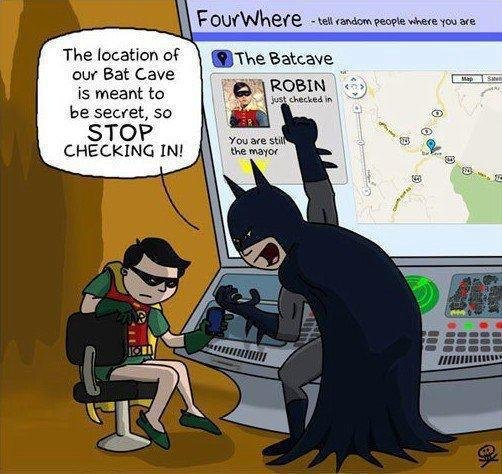 #FunnyFriday – What is Robin thinking? He has given the Joker their top secret whereabouts without even realizing it!  Don't give cyber criminals an easy way in, be #Cybersmart!  #J2Software #J2CSC #joke #infosec #notourimage #batman #superhero #Cybersecurity #location #sharing<br>http://pic.twitter.com/0unj3kRrXz