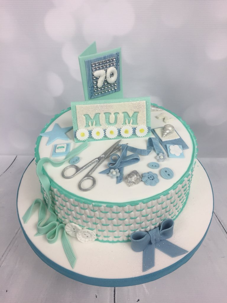 Happy 70th Birthday Mum Sewing And Bingo Lover Cake Sewing Bingo