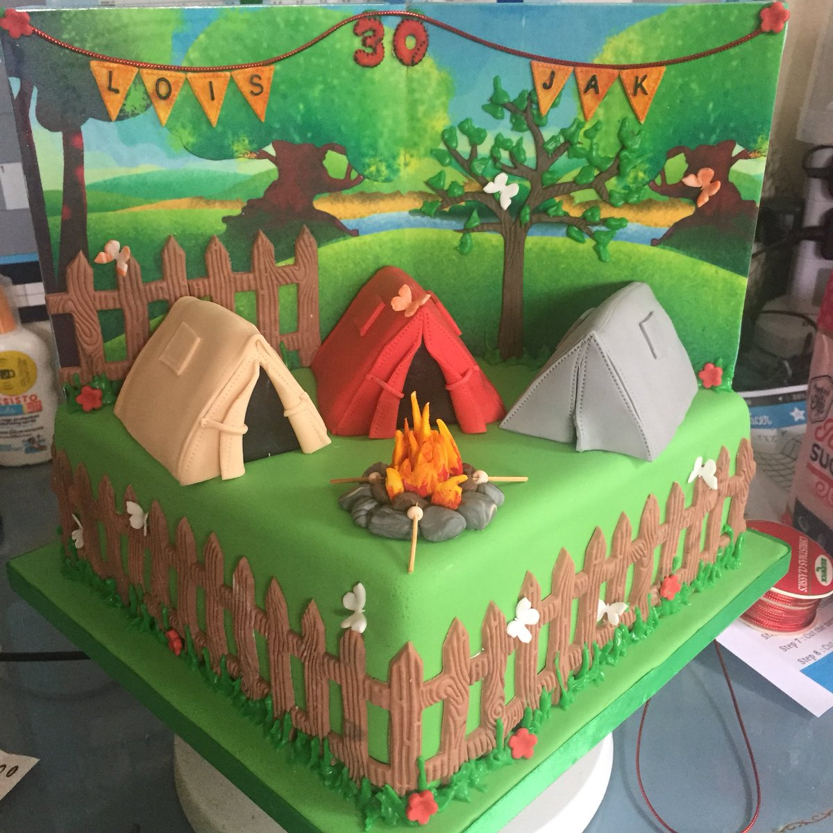 Castle Cakes On Twitter Joint 30th Camping Themed Birthday Cake