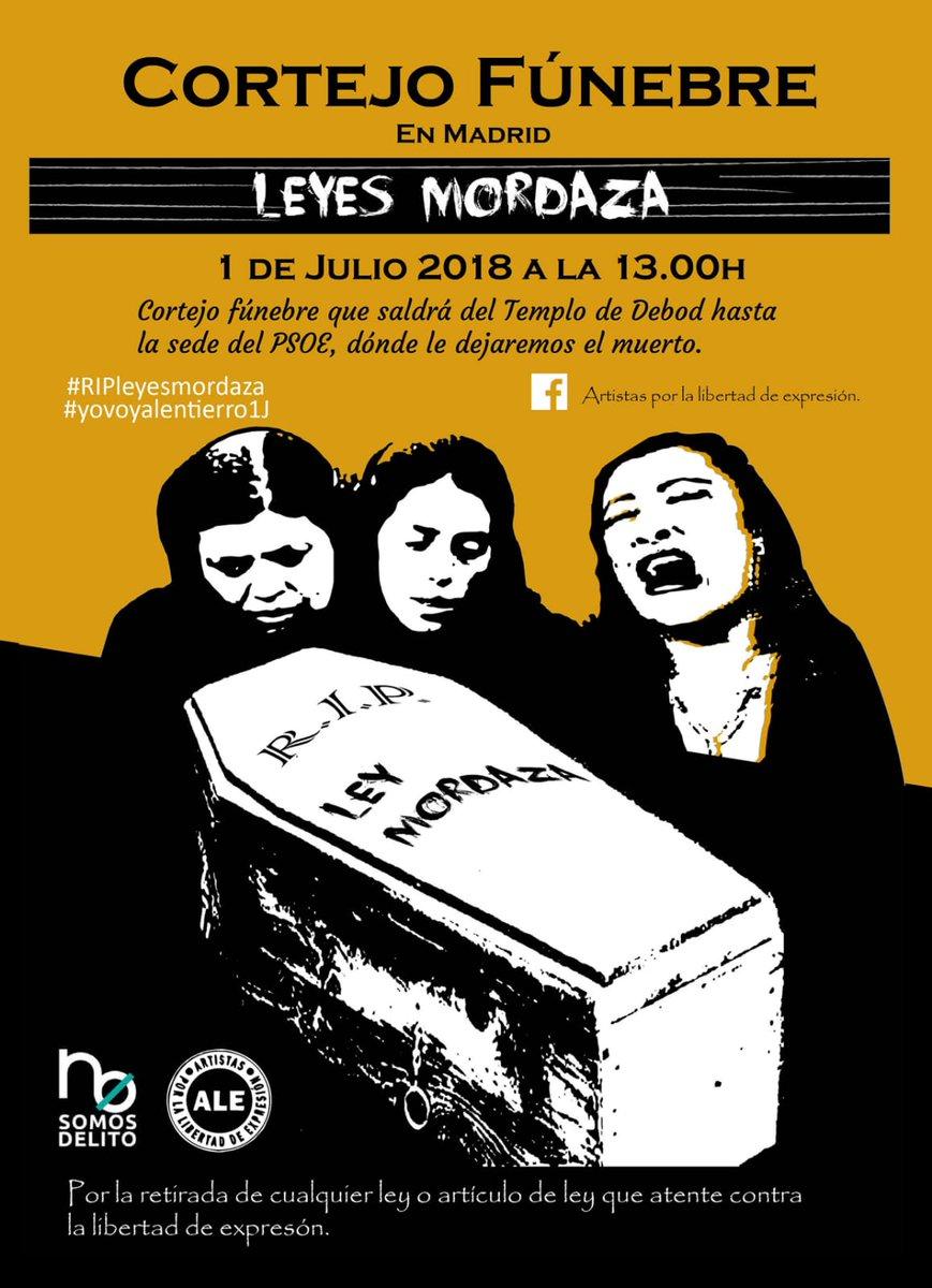 Este domingo sepultamos las leyes mordaza. Vente de luto. #YoVoyAlEntierro1J https://t.co/1S1hdkELDr