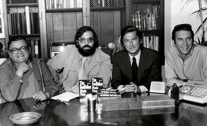 Happy 88th birthday to producer Robert Evans, seen here with Mario Puzo, Francis Ford Coppola and Albert S. Ruddy.