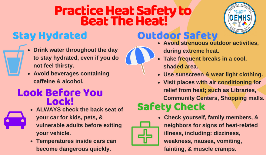 An info graphic for heat safety