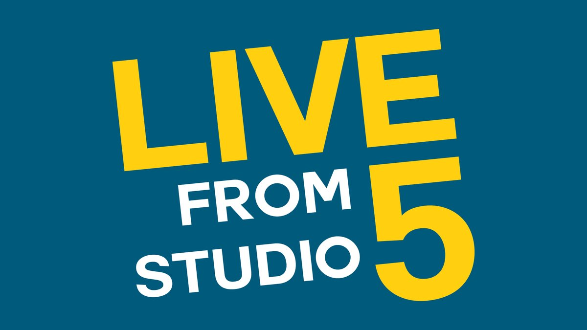 The show logo for Live from Studio 5. Yellow and white lettering on a blue background.