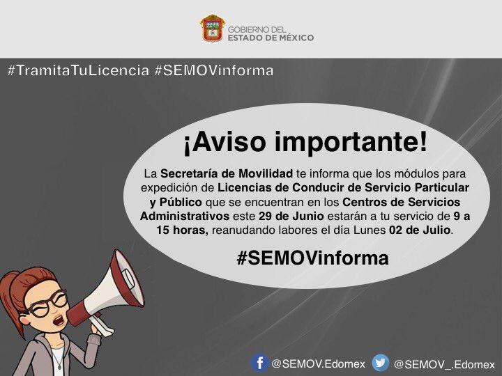 Secretaría Movilidad в Twitter Avisoimportante Hoy