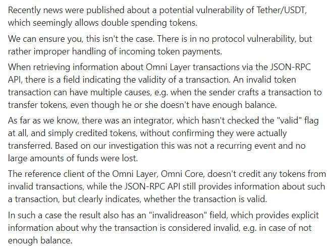 Yesterday's #USDT issue was related to the implementation logic of a specific exchange and not with either Tether or the OMNI Protocol.   Please refer to the following guide for OMNI core integration best practises: https://t.co/SSgKBGrIeL