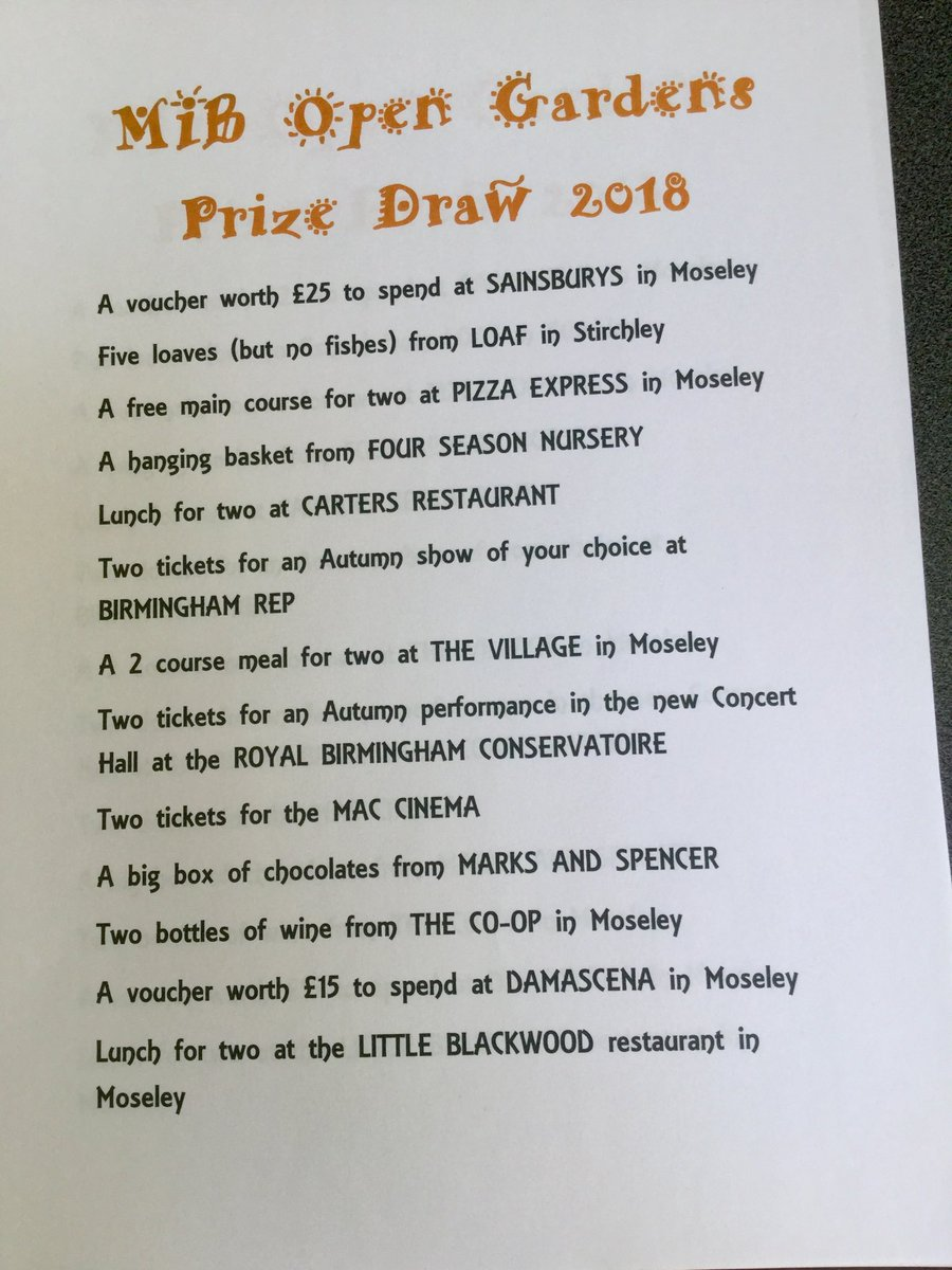 Moseley In Bloom On Twitter All The Prizes To Win In The