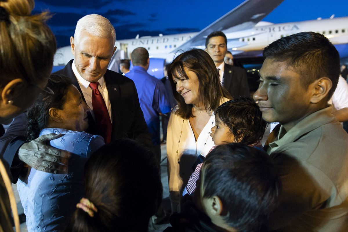 Hasil gambar untuk The Vice President also met with familiesdisplaced by the Volcán de Fuego eruption in Guatemala