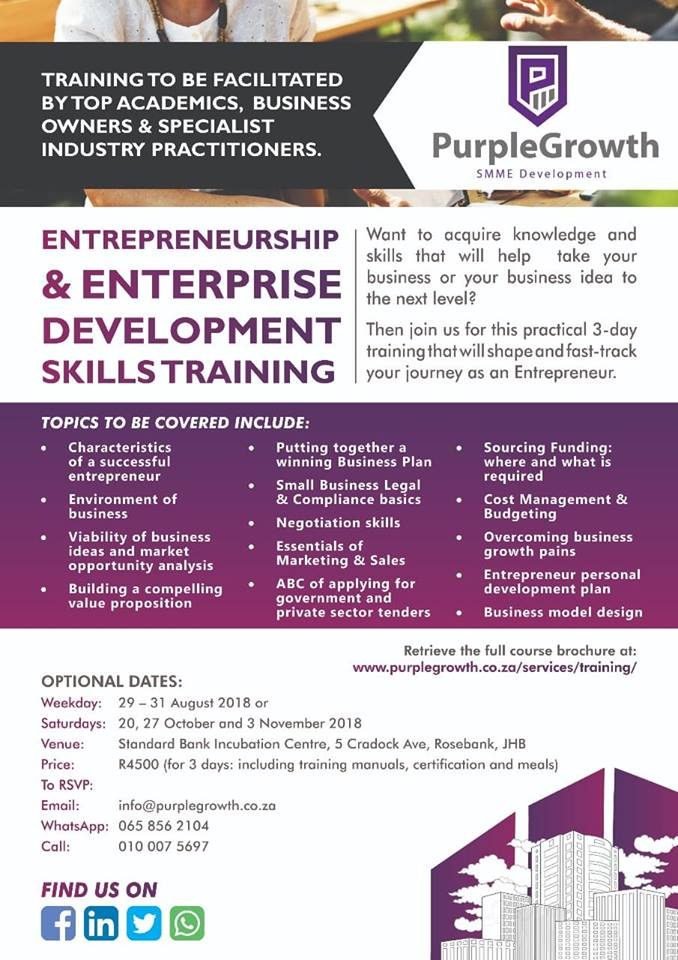 Mapule mofokeng mapsydaisy twitter purplegrowth to host a highly valued entrepreneurship enterprise development skills training guided by top academics business owners and industry malvernweather Gallery