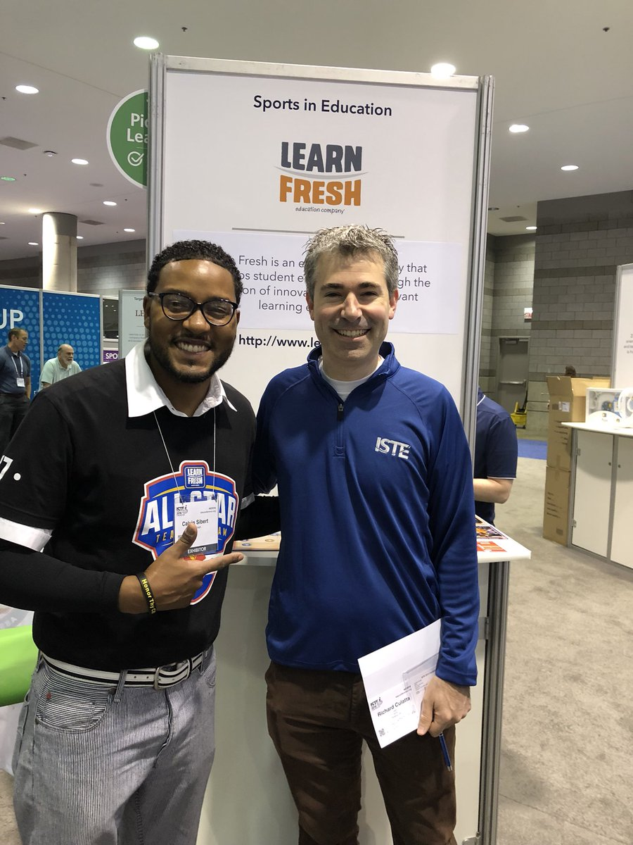 It was nice meeting Richard The CEO of the #ISTE18 Conference in Chicago. I showed him how @NBAMathHoops is played and he thought it was pretty cool. 😎🏀➕➖✖️➗