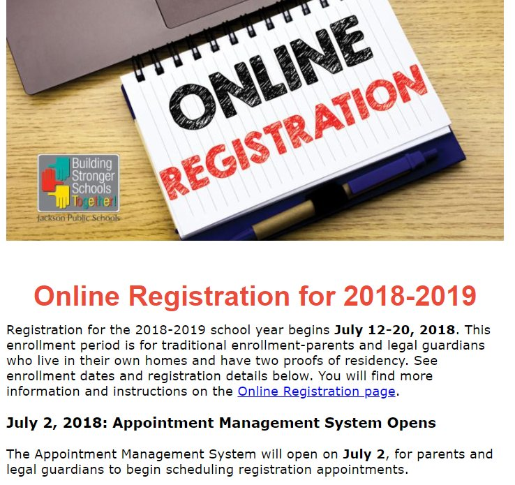 Jacksonpublicschools On Twitter Registration For The 2018 2019