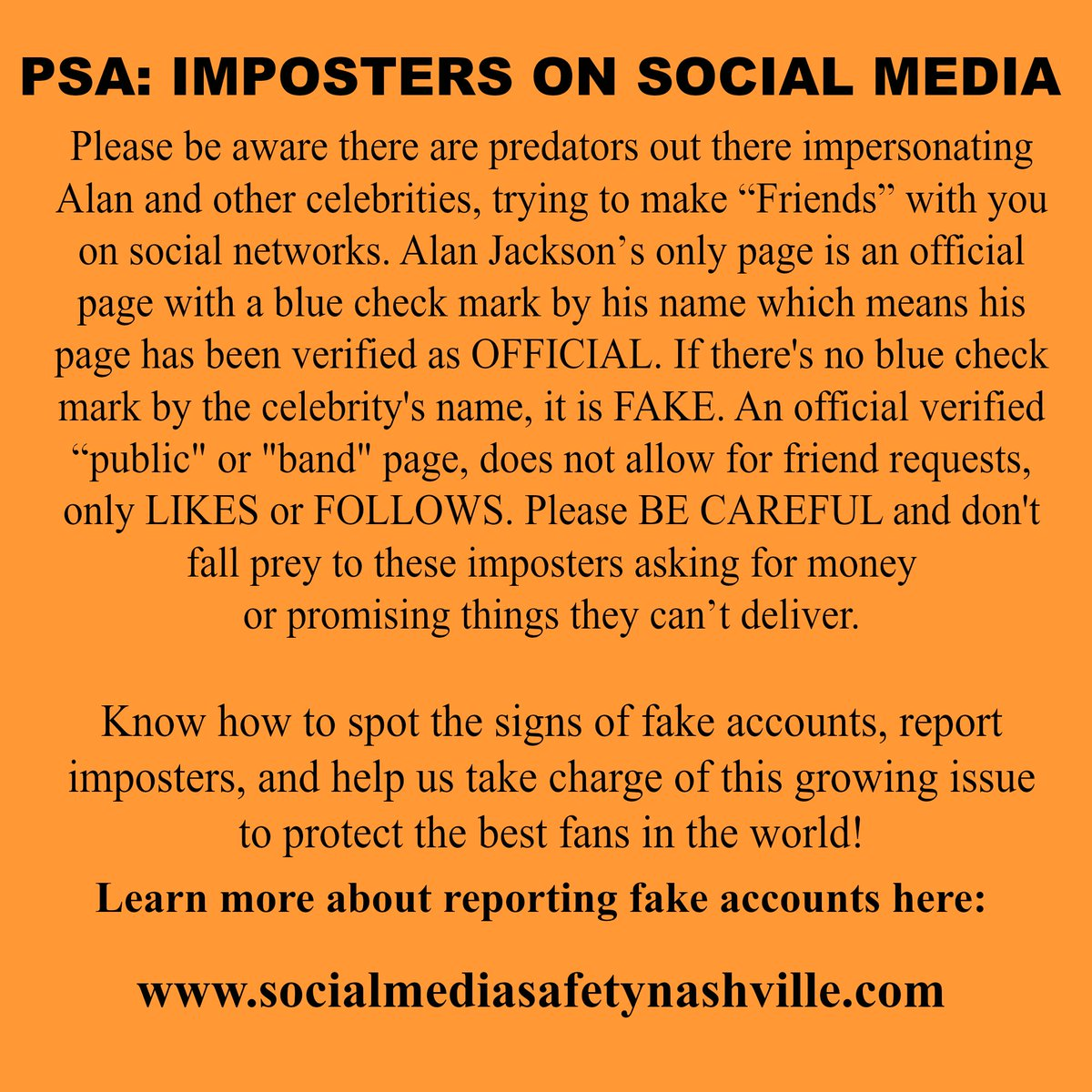 Alan Jackson On Twitter Psa Imposters On Social Media Learn