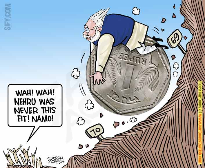 Image result for what narendra modi said then and is doing now on rupee fall cartoons