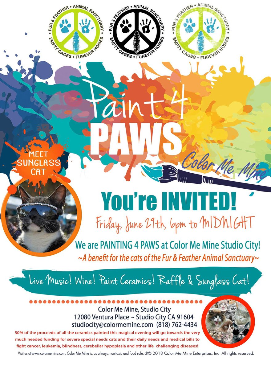 Honored to attend the Fur & Feather Animal Sanctuary's celebrity fundraiser #Paint4Paws tonight!  I will be painting some cat bowls for them to auction off and raise money!  #Catlover #AnimalSanctuary #LARescue #catrescue #petrescuepic.twitter.com/M6WlikP8X2