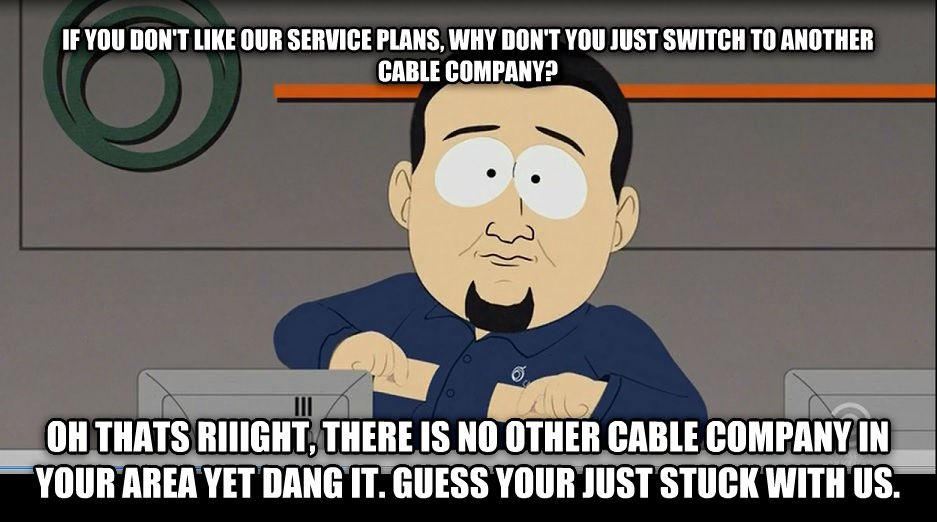 """maybe: brigid on Twitter: """"Comcast is out across the country and it reminds  me of the South Park episode where the cable companies would get off on  inconveniencing their customers lmaooo… https://t.co/PItEGAFXxp"""""""