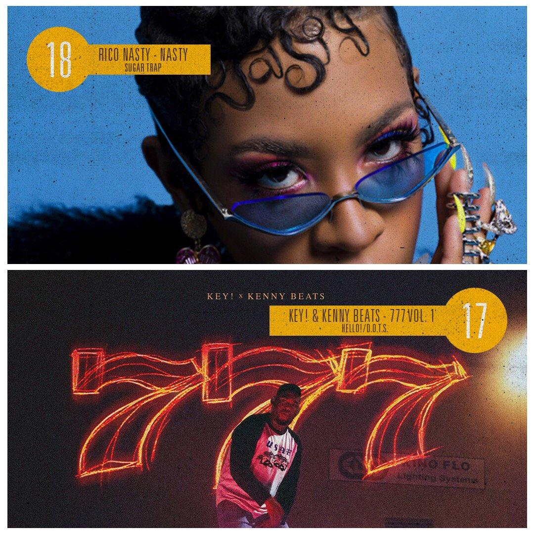 18. @Rico_nastyy - 'Nasty' 17. @FATMANKEY and @kennybeats - '777 Vol. 1' #BestAlbumsOf2018SoFar