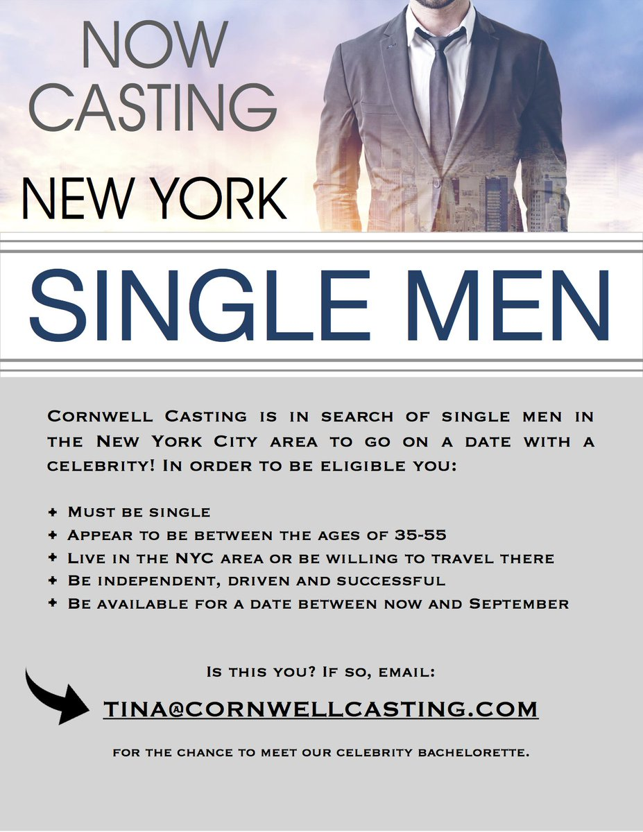 Cornwell casting on twitter just in case you missed it yesterday new york city area to go on a date with a celebrity is this you if so email tinacornwellcasting casting castingcallpicitter9yaq125tzo m4hsunfo