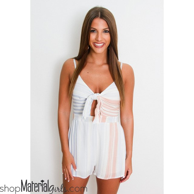 07b04622bf44 Blue and Coral Stripe Romper Love this romper! The tie front is SO cute!!  https   www.shopmaterialgirls.com product blue-and-coral-stripe-romper  …
