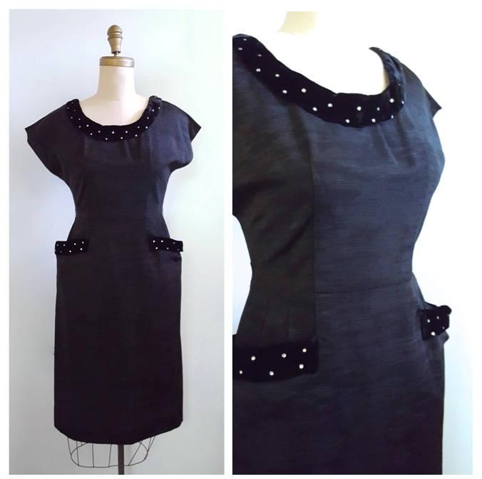 7423bc1c338c7 ... 1950s madmen style Silk wiggle dress with velvet and rhinestone accents  | 50s evening wear http://tuppu.net/a5b4c57e #MyNewTag #vintage  #retrouverbiz ...