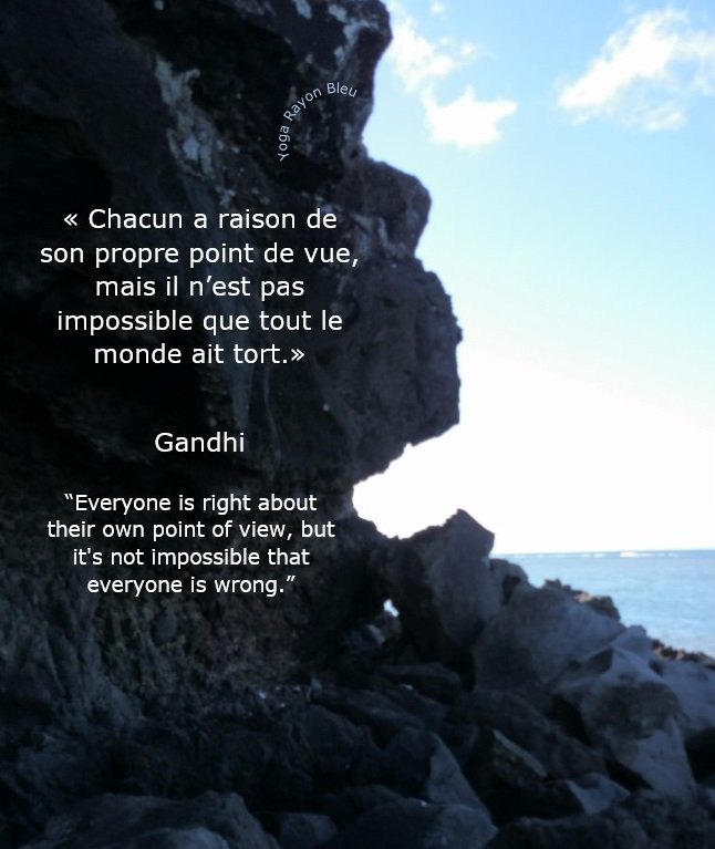 """«Chacun a raison de son propre point de vue, mais il n'est pas impossible...» Gandhi """"Everyone is right about their own point of view, but it&#39;s not impossible that everyone is wrong."""" Photo #YogaRayonBleu 2014 Rodrigues #yoga #hathayoga #yogafrance #yogatime #yogainspiration<br>http://pic.twitter.com/PZbQaZKw8v"""