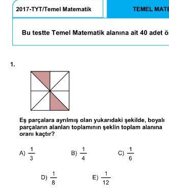 örnek soru aynen #yks18
