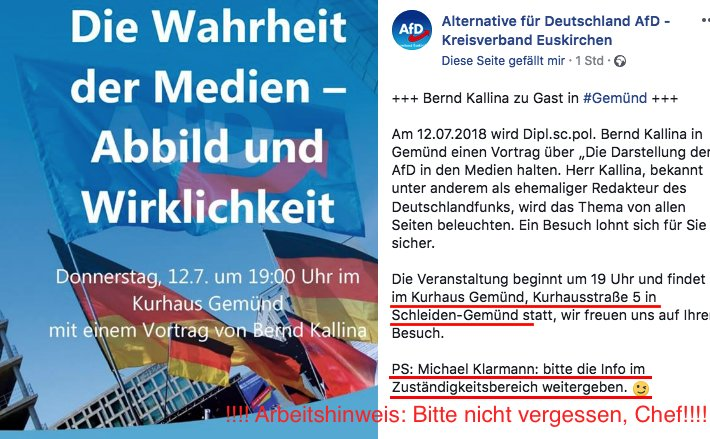 Anti-Antifa, Fascho Ideologe und Bürschi Bernd Kallina als Referent zu Besuch in der Eifel bei den völkischen Blut & Boden Faschos der AfD.