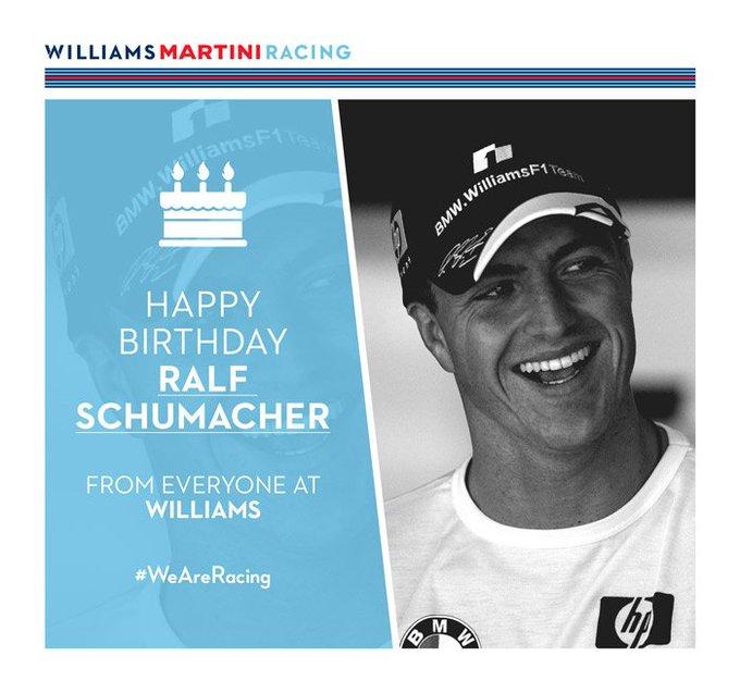 On behalf of everyone at Williams, Happy Birthday Ralf Schumacher!